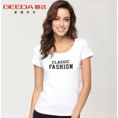 女士高品质经典莱卡棉修身弹力百搭圆领 短袖T恤