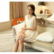 欧根蕾丝镂空纱拼色修身超显瘦无袖连衣裙 背心裙