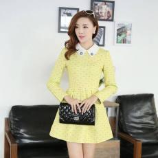春装韩版新款女装小清新立体面料修身女装长袖连衣裙B339633