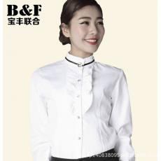 韩版时尚修身细斜纹女士上衣打底白衬衫女立领长袖职业装新款衬衣
