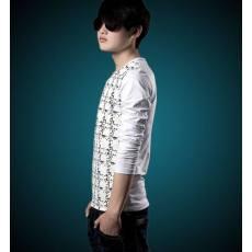 春夏新款韩版T恤男士长袖上衣 薄款印花V领修身男士T恤批发