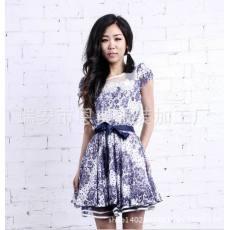 厂家供应货源 韩版新款女裙 雪纺连衣裙 蕾丝连衣裙