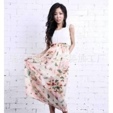 夏季韩版新款连衣裙 雪纺连衣长裙 夏装女裙子