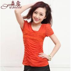 夏装批发 新款短袖 女 中年女装 瑞安女装 圆领烫钻T恤 橘色T