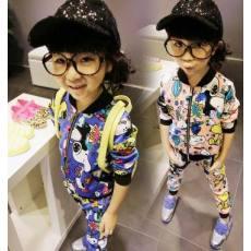 2014春秋 女童套装新款 卡通史努比休闲外套裤子2件套一件代发