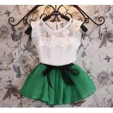 多可爱2014夏款童装镂空雪纺T恤+雪纺短裙套装中大童韩版两件套
