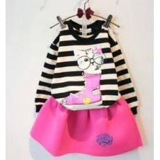 多可爱童装儿童女童套装2014春秋款小猫T恤+短裙装宝宝套装潮湖州