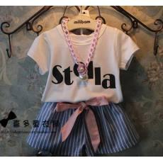 多可爱 2014夏季新款女童韩国童装清新字母T+条纹小高腰短裤套装