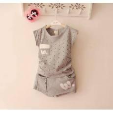 多可爱 韩版 儿童短裤套装2014夏装新款童装 女童短袖T恤裙裤套装