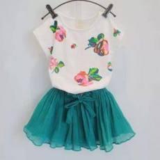 多可爱 2014韩版童装女童清新花朵 短裙夏季新款套装一件代发