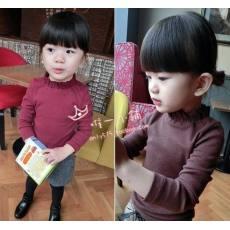 多可爱 2014秋韩版秋装 女童小童宝宝半高领打底衫立领螺纹高弹力