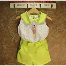 多可爱2014夏新款女童超洋气娃娃领无袖背心T恤+雪纺短裤套装代理