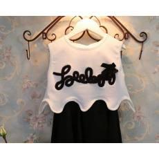 多可爱 刺绣字母好品质两件套装女童连衣裙夏装新款2014一件代发