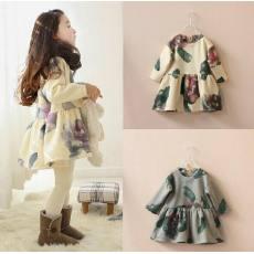 14秋季新款 女童韩版花朵图案长袖卫衣 儿童套头裙一件代发