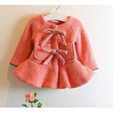 2014秋装女童冬款甜美洋气大衣儿童毛呢蝴蝶结裙摆外套气质大衣