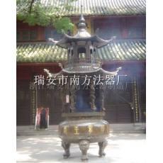 精雕龙柱二层铜香炉鼎