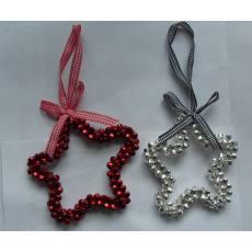 厂家直销彩色铃铛 金粉铃铛喷塑彩色铁丝麻丝圣诞工艺品五星铃