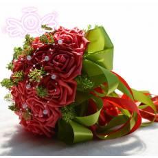 新娘手捧花23加珠红色 婚庆装饰用品 创意礼品 结婚礼物工厂 D168