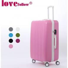 Lovefollow条纹abs拉杆箱万向轮行李箱pc旅行箱时尚登机密码箱子
