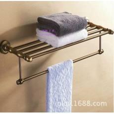 欧式双层仿古浴巾架 拉丝浴室挂件