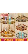 欧式仿古镀玫瑰金色全铜实心雕花三角板篮浴室转角置物架