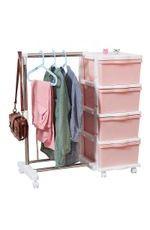 衣橱带挂衣杆简易衣柜多功能塑料组装儿童收纳柜