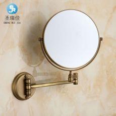 卫生间化妆镜 折叠镜 壁挂伸缩镜子 放大化妆镜 仿古浴室美容镜
