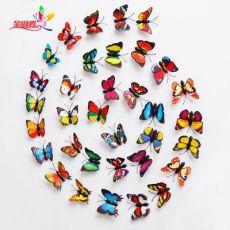 pvc彩色蝴蝶 微景观饰品工艺品 仿真蝴蝶立体磁性冰箱贴