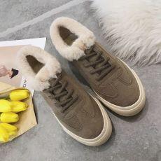 帆布鞋女韩版加绒休闲百搭学生厚底保暖棉鞋毛毛鞋