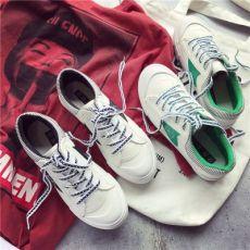 韩版低帮帆布鞋女原宿休闲百搭板鞋平跟系带学生小白鞋潮