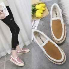 女保暖加绒一脚蹬懒人鞋韩版毛毛鞋学生保暖棉鞋