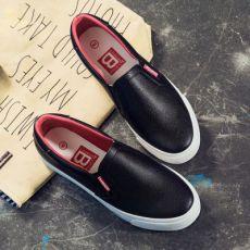韩版帆布鞋女士休闲低帮单鞋平跟皮面板鞋学生懒人乐福鞋