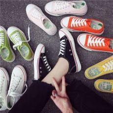 糖果色新款帆布鞋女韩版原宿ulzzang板鞋百搭休闲学生小白鞋