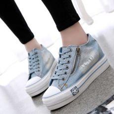 单鞋韩版帆布鞋女厚底内增高牛仔布鞋学生休闲女式布鞋子