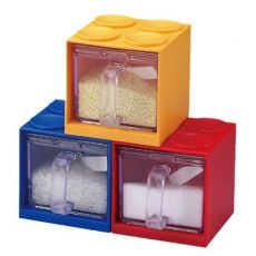 qile600_自由组合DIY积木抽屉调味盒 带勺 按压式厨房工具调味瓶调味罐