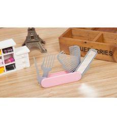 美发梳子 多功能便携折叠5合1美容美发器编发器化妆镜