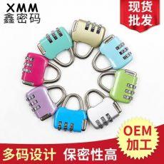 锌合金压铸箱包密码锁 健身房彩色挂锁 防盗文具锁
