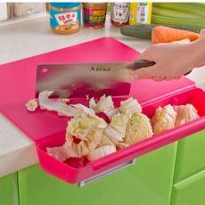 二合一收纳切菜板收纳槽切菜板砧板塑料切菜板糖果色可折式带