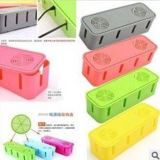 塑料收纳盒带散热孔电源线插座收纳盒带精致彩盒