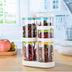 彩虹旋转调味罐套装 密封调味罐 干货储物罐 厨房收纳