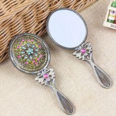 金属镶钻镂空化妆镜复古套装椭圆手柄镜