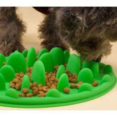 丛林宠物慢食碗 防滑硅胶 阻食防噎促消化 椭圆形硅胶狗狗碗