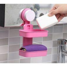 齐发娱乐_浴室强力吸盘肥皂架 双层沥水香皂盒 壁挂吸盘肥皂盒