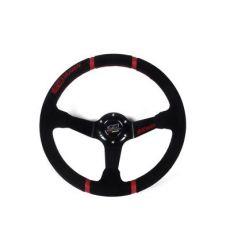 新款无限车用绒皮皮赛车方向盘 改装方向盘 14寸红线方向盘