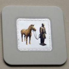兵马俑 镭射浮雕杯垫 隔热垫 家居餐厅日用小礼品