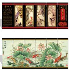 漆器仿古小屏风 032 小号 连年有余 中国特色工艺礼品
