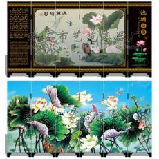 漆器仿古小屏风 054 池塘倩影 商务馈赠 中国特色礼品
