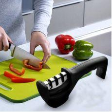 三段式磨刀棒时尚磨刀石三槽手柄磨刀器 厨房小工具