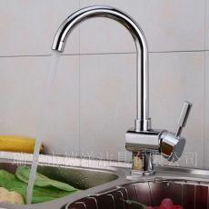 欧式全铜单孔冷热厨房水槽混水龙头洗菜盆可旋转立式节水铸造龙头
