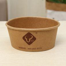 牛皮纸打包快餐盒外卖便当盒圆形纸盒一次性沙拉碗汤杯碗面桶带盖
